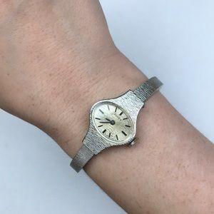 Timex vintage silver bracelet watch Art Deco MCM